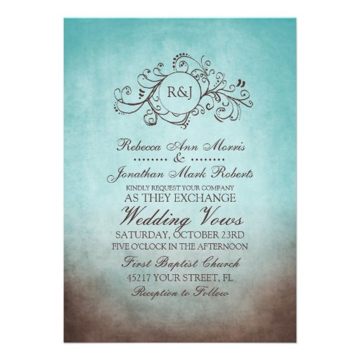 Rustic Brown and Teal Bohemian Wedding Invitation
