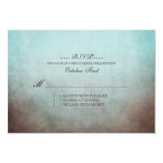 "Rustic Brown and Teal Bohemian Wedding RSVP 3.5"" X 5"" Invitation Card"