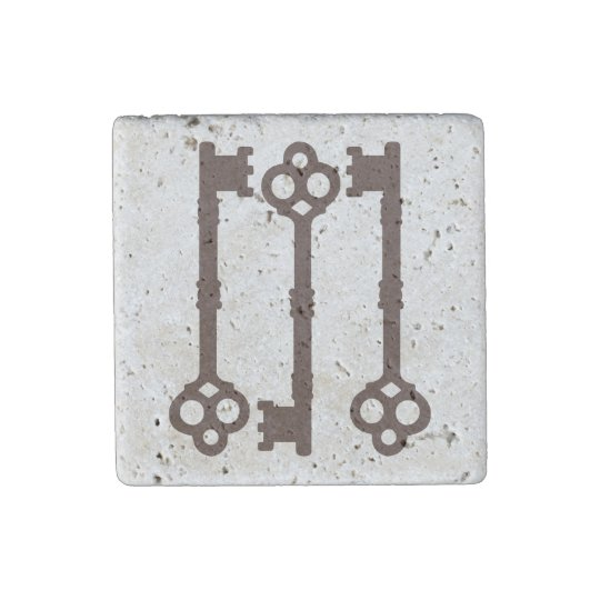 Rustic brown antique key design stone magnets