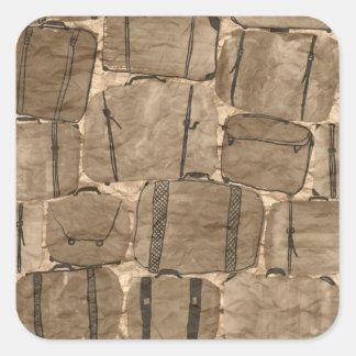 Rustic Brown Bag Suitcases Travel Burlap Print Square Sticker