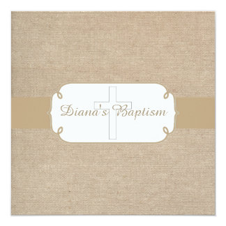 Rustic Brown & Beige Burlap Baptism Invitation