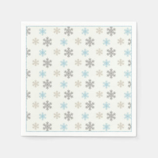 Rustic Brown Blue Snowflake Napkins