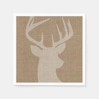 Rustic Brown Burlap Deer Buck Disposable Napkin