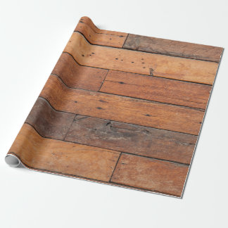 Rustic Brown Faux Wood Planks Pattern Wrapping Paper