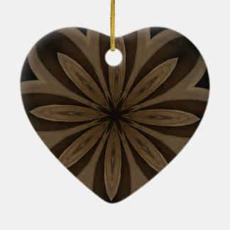 Rustic Brown Floral Kaleidoscope Design Ceramic Heart Ornament
