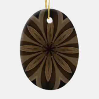 Rustic Brown Floral Kaleidoscope Design Ceramic Oval Ornament