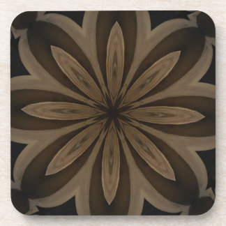 Rustic Brown Floral Kaleidoscope Design Coasters