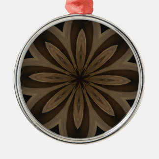 Rustic Brown Floral Kaleidoscope Design Silver-Colored Round Ornament