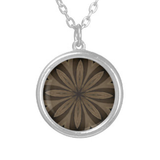 Rustic Brown Floral Kaleidoscope Design Silver Plated Necklace