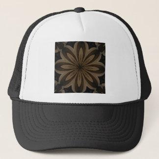 Rustic Brown Floral Kaleidoscope Design Trucker Hat