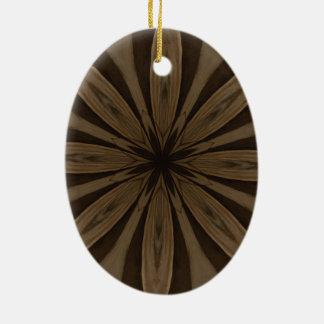 Rustic Brown Flower Kaleidoscope Design Ceramic Oval Ornament