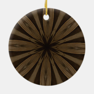 Rustic Brown Flower Kaleidoscope Design Round Ceramic Ornament