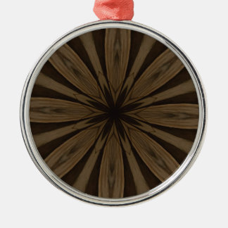 Rustic Brown Flower Kaleidoscope Design Silver-Colored Round Ornament