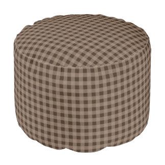 Rustic Brown Gingham Pillow Pouf Ottoman Seat