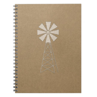 Rustic Brown Kraft Farm Windmill Country Modern Notebook