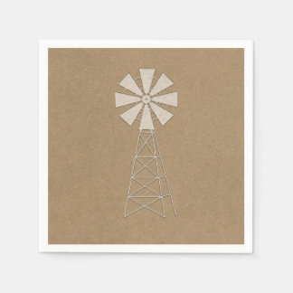 Rustic Brown Kraft Farm Windmill Modern Wedding Napkin