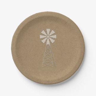 Rustic Brown Kraft Farm Windmill Modern Wedding Paper Plate