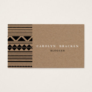Rustic Brown Kraft Paper Tribal Aztec Pattern Business Card