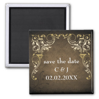 rustic brown regal save the date magnets magnet