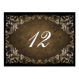 rustic brown regal wedding table seating card postcards