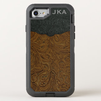 Rustic Brown Tooled Leather (Faux) OtterBox Defender iPhone 8/7 Case