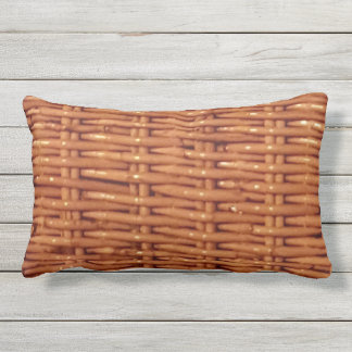 Rustic Brown Wicker Basket Country Style Funny Outdoor Pillow