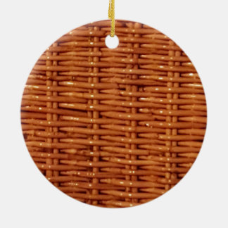 Rustic Brown Wicker Picnic Basket Country Style Ceramic Ornament