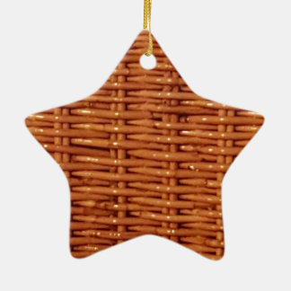 Rustic Brown Wicker Picnic Basket Country Style Ceramic Star Ornament
