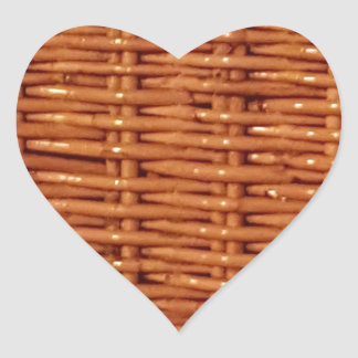 Rustic Brown Wicker Picnic Basket Country Style Heart Sticker