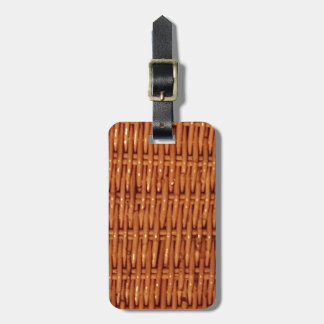 Rustic Brown Wicker Picnic Basket Country Style Luggage Tag