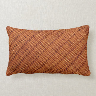 Rustic Brown Wicker Picnic Basket Country Style Lumbar Pillow