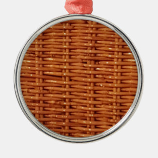 Rustic Brown Wicker Picnic Basket Country Style Metal Ornament