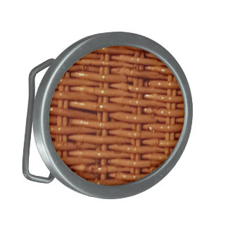 Rustic Brown Wicker Picnic Basket Country Style Oval Belt Buckles