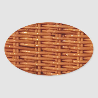Rustic Brown Wicker Picnic Basket Country Style Oval Sticker