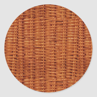 Rustic Brown Wicker Picnic Basket Country Style Round Sticker