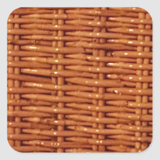 Rustic Brown Wicker Picnic Basket Country Style Square Sticker