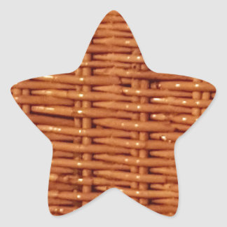 Rustic Brown Wicker Picnic Basket Country Style Star Sticker