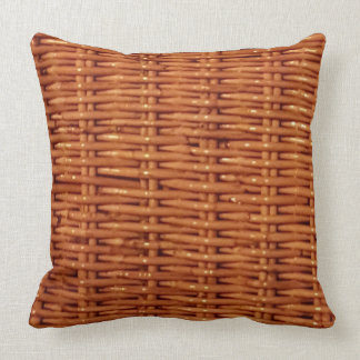 Rustic Brown Wicker Picnic Basket Country Style Throw Pillow