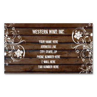 Rustic Brown Wood and Lace Country Vintage Magnetic Business Card