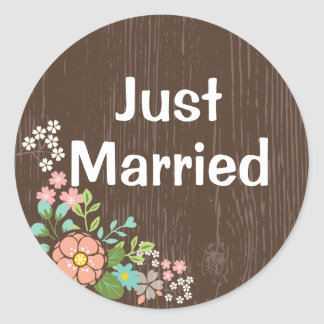 Rustic Brown Wood Just Married Pink Floral Wedding Round Sticker