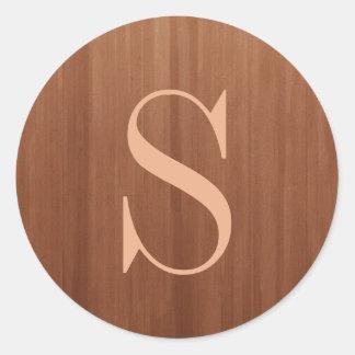 Rustic Brown Wood Wedding Monogram Round Sticker
