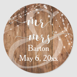 Rustic Brown Wood, White Light Strings Mr & Mrs Classic Round Sticker