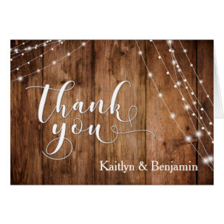 Rustic Brown Wood, White Light Strings Thank You 1 Card