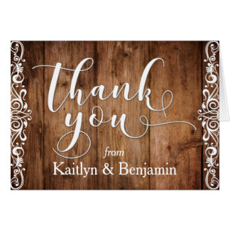 Rustic Brown Wood, White Typography Thank You 1 Card