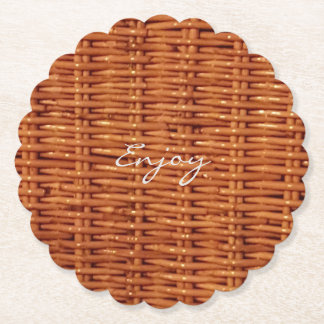 Rustic Brown Wood Wicker Picnic Basket Funny Paper Coaster