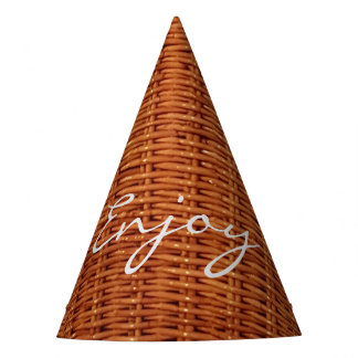 Rustic Brown Wood Wicker Picnic Basket Funny Party Hat