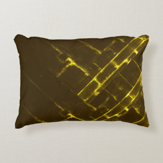 Rustic Brown Yellow Geometric Batik Weave Modern Accent Pillow