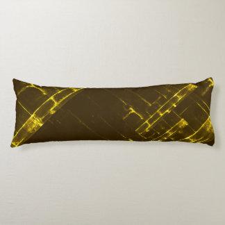 Rustic Brown Yellow Geometric Batik Weave Modern Body Pillow