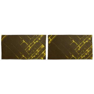 Rustic Brown Yellow Geometric Batik Weave Modern Pillowcase