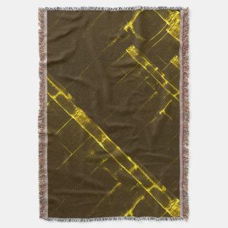 Rustic Brown Yellow Geometric Batik Weave Modern Throw Blanket